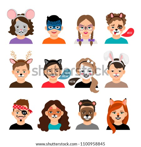 Face painting kids. Children with painting faces vector illustration, facing paintings like fox, tiger and cat masks makeup