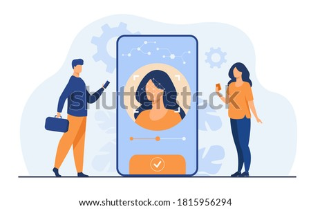 Face recognition and data safety. Mobile phone users getting access to data after biometrical checking. For verification, personal ID access, identification concept Stockfoto ©