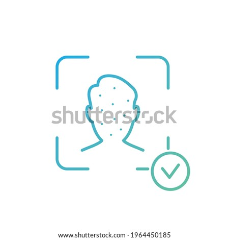 Face Recognition and Identification Line Icon. Biometric Facial Detection pictogram. Facial Scan and Identification. Facial Recognition System Sign. Face ID Line Icon. Vector illustration.