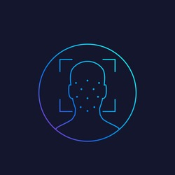 Face recognition, biometric identification, facial scan, linear vector