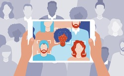 Face recognition concept. Artificial intelligence technology. Men and women faces scanning. AI algorithms. People search in the crowd. Hands holding tablet. Vector illustration.