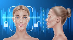 Face recognition concept. Biometric face scanning of realistic beautiful girl. Personal verification, cyber protection. Futuristic security, identity detection with AI algorythms. Vector illustration