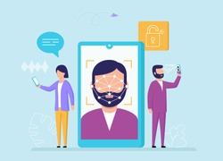 Face Recognition, Device Unlock Concept. Cartoon Characters Use Face Identificaton On Smartphone Or Tablet To Get Access To Text Or Voice Messages And Other Functions. Flat Style Vector Illustration