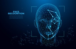 Face Recognition. Facial Recognition System concept. biometric scanning, 3D scanning. Face ID. Identification of a person through the system of recognition. Polygon vector wireframe concept.