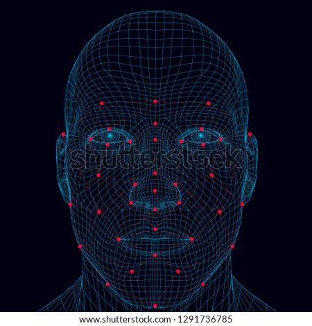 Face recognition men. The polygonal wireframe of the head of a man demonstrates face recognition technology. A lot of points and lines for recognizing a person's personality. Vector illustration.
