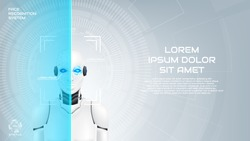 Face recognition system of mechanical humanoid web banner. Concept of robot cybernetic organism with virtual HUD interface with augmented reality. Vector illustration. Techno background with cyborg.