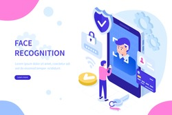 Face recognition technology concept. Can use for web banner, infographics, hero images. Flat isometric vector illustration isolated on white background.