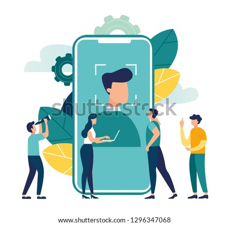 Face recognition using a laser concept ID, man holds a phone in his hand and scans the application face, modern technology - Vector