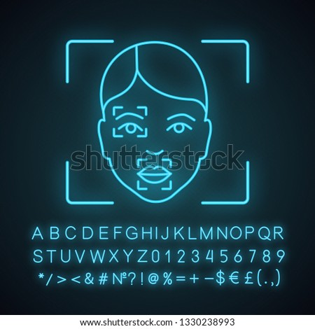 Face scanning procedure neon light icon. Facial recognition markers, points. Partial matching analysis. Glowing sign with alphabet, numbers and symbols. Vector isolated illustration