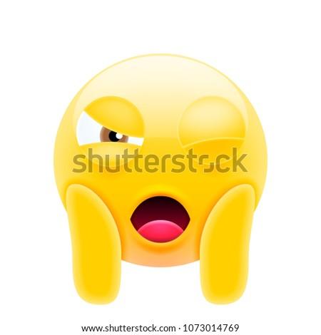 Face Screaming Emoji. Winking Face Icon