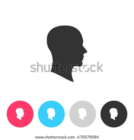 Face silhouette in profile isolated on white background. Button with symbol for your design. Vector illustration, easy to edit.