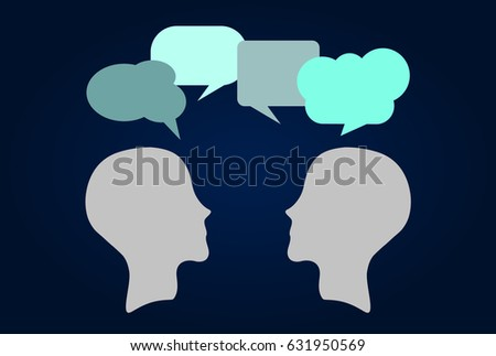 Face to face communication. Silhouettes with speech bubbles