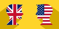 face to face concept with british and american flags. banner, sticker, print, decorative