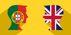face to face concept with protugal and british flags. banner, sticker, print, decorative