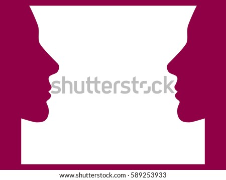 Face to face. Women face, look at each other. Vector illustration
