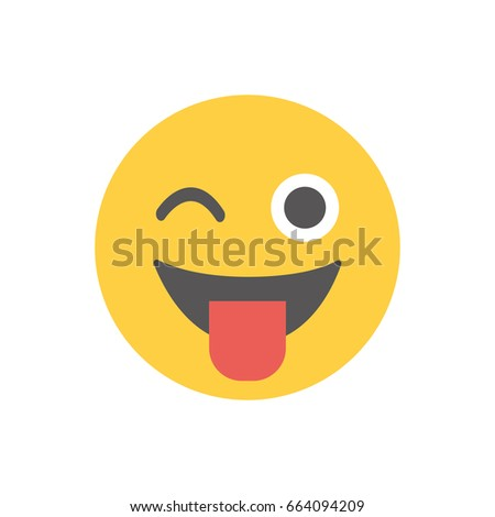 Face with stuck out tongue and winking eye emoticon vector illustration. Flat design.