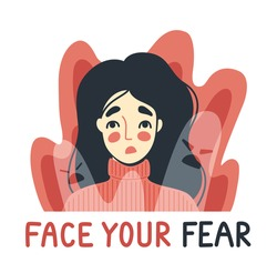 Face your fear, phobia, insomnia concept. Frightened, scared young woman surrounded by imaginary ghosts flying around her. Panic attack, fears, paranoia and sleeping disorder. Vector illustration.