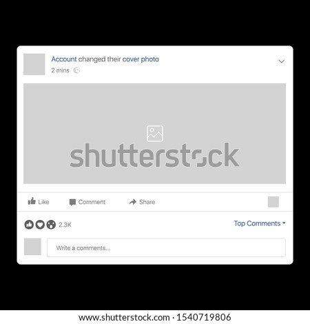 Facebook Cover Change Interface. Facebook Interface. Social network interface frame with flat icons isolated on white background. Photo frame Mockup