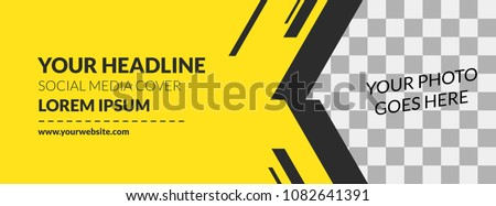 Facebook Cover Web Banner Social Media Yellow Design Stripe Template Vector #1082641391