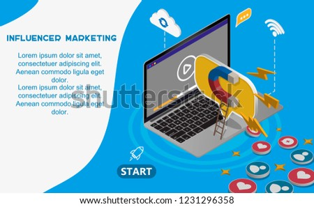 Facebook Digital advertising ads social media online marketing. vector illustration	The powerful of influencer marketing is like the magnetic field that drags customer like icon into the business
