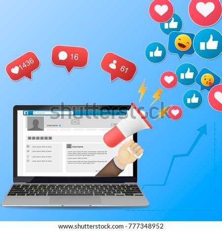 Facebook  Digital advertising, vector 3d concept, online conference, media promotion, laptop speaker illustration