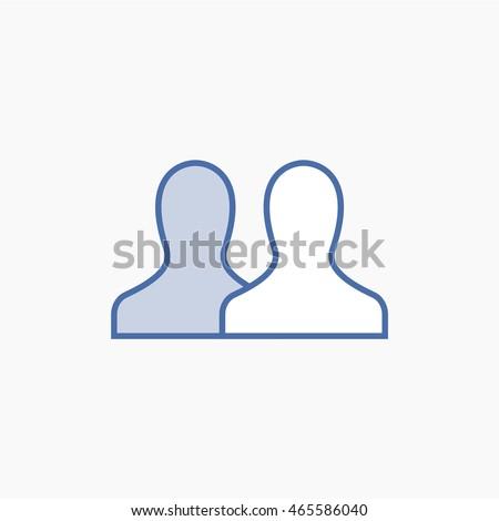Facebook friends Icon Vector. social media User Interface Sign, person Flat Illustration. FB people UI Symbol. 2016 Design