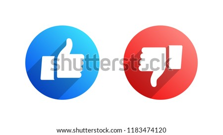 Facebook Like and Dislike Vector Modern Icons Isolated on White Background. Design Elements for Social Network, SMM, CEO, APP, UI, UX, Marketing, Business, Advertisement