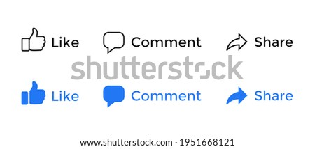 Facebook Like, Comment, Share of Social Media Icons. Vector Illustration