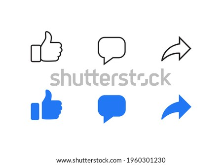Facebook Like, Comment, Share. Social Media Icon Set Collection. Vector Illustration