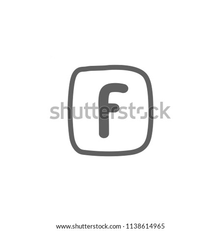 facebook logo for social media using monoline vector illustration