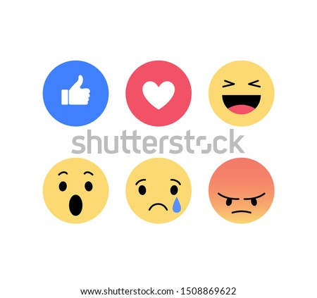 Facebook reactions. Emoji, Emoticons. Social network likes. Vector