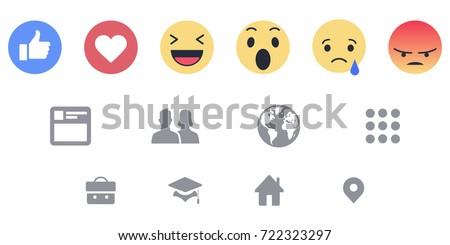 Facebook reactions Icons Web Vector Set #722323297