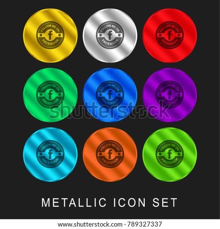 Facebook social retro circular badge 9 color metallic chromium icon or logo set including gold and silver