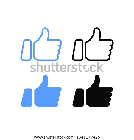Facebook Thumbs up and heart icon on a white background. Vector illustration