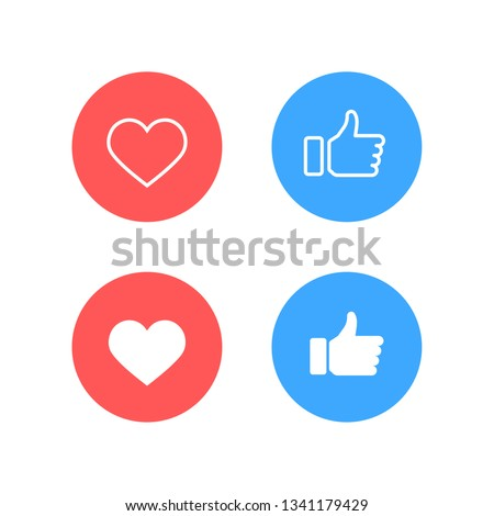 Facebook Thumbs up and Instagram heart icon on a white background. Vector illustration