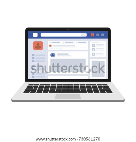 facebook web page, concept of Social Page Interface on the laptop macbook, social media vector illustration
