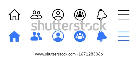 Facebook web social media interface application icons, modern design icons, buttons, signs, symbols for web and mobile apps, social media network, blogging icons. Facebook Vector illustration