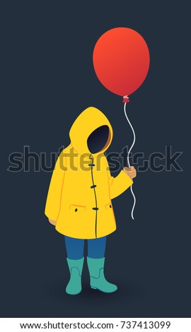 faceless boy in yellow raincoat