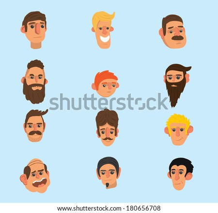 Faces icon set \ Flat design \ Simple  \ Minimalism