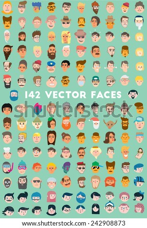 faces icons mega pack  flat