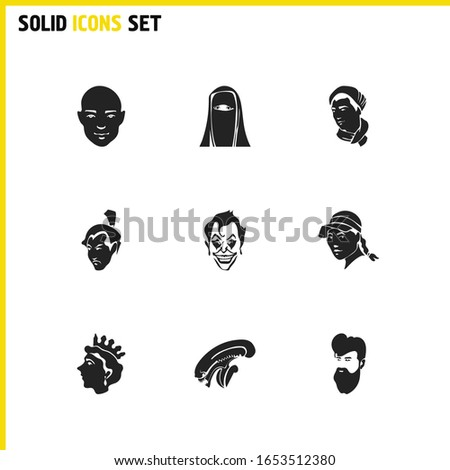 faces icons set with male in