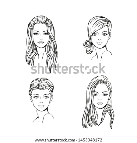 Faces of four young women with a different, fashionable hairstyle. Vector art. Hairstyle set