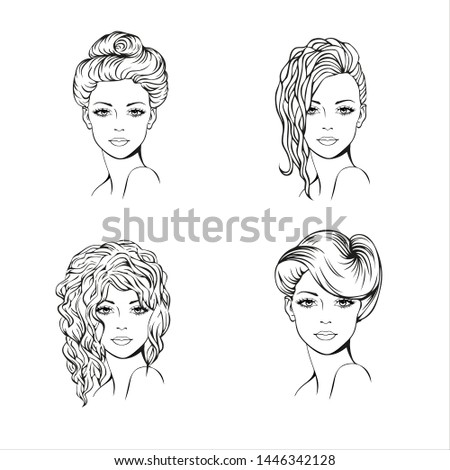 Faces of four young women with different modern, romantic, wedding hairstyle. Vector art. Hairstyle set