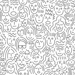 faces of people - seamless background