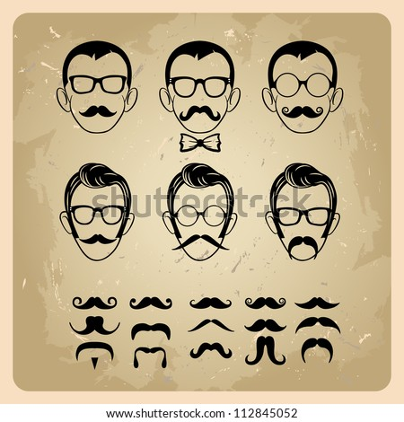 Faces with Mustaches, sunglasses,eyeglasses and a bow tie - vector illustration