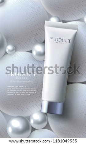 Facial anti-wrinkle cream ads poster template. Cosmetics premium product. Cosmetic packaging mockup design. White cream tube on background of geometric sphere shapes. 3d vector illustration.