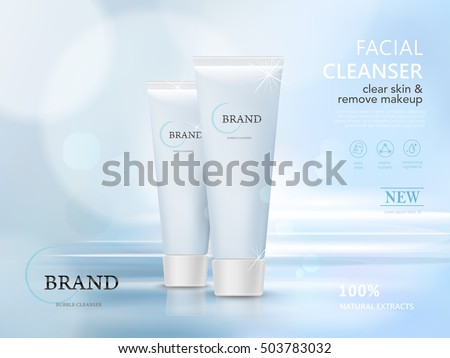 facial cleaner blank package model, 3d illustration for ads or magazine