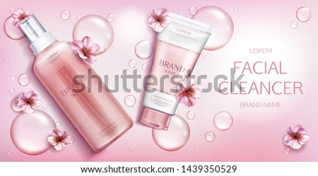 Facial cleanser cosmetics bottles mockup banner, beauty cosmetic product on pink background with sakura flowers and water drops. Milk, gel, scrub tubes packaging. Realistic 3d vector illustration