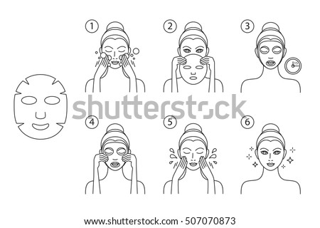 Facial cosmetic mask. How to apply. Young woman doing mudpack on her face, vector illustration
