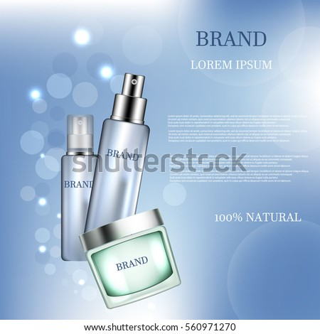 Facial cream and lotion. 3D illustration. #560971270